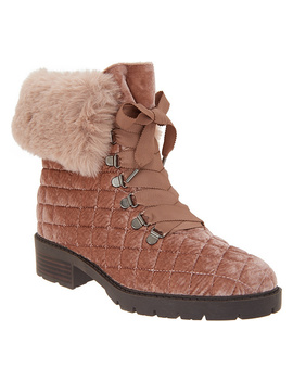 Isaac Mizrahi Live! Velvet And Faux Fur Quilted Hiker Boots by Qvc