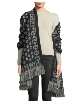 Extra Large Skull Scarf W/ Fringe Trim by Alexander Mc Queen