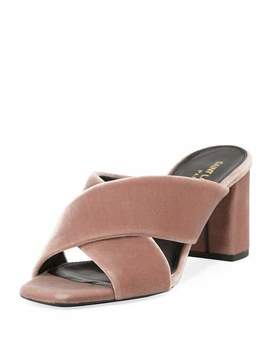 Lou Lou Velvet Slide Sandals by Saint Laurent