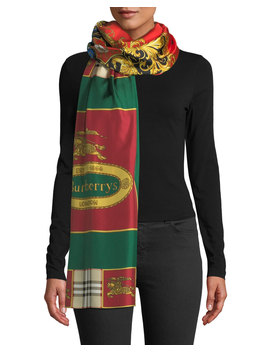 Horse Crest Silk Scarf by Burberry
