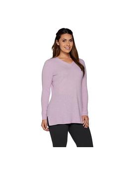 Isaac Mizrahi Live! 2 Ply Cashmere V Neck Tunic Sweater by Isaac Mizrahi