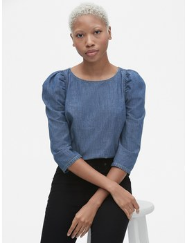 Denim Puff Sleeve Top by Gap