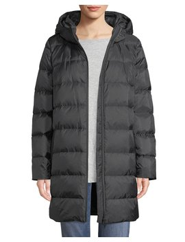 Printed Chevron Cocoon Puffer Coat by Eileen Fisher