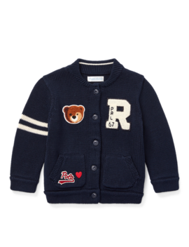 Bear Letterman Cotton Cardigan by Ralph Lauren