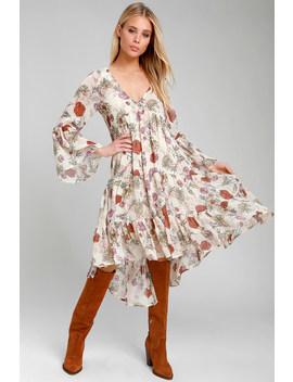 Belina Beige Floral Print Long Sleeve Midi Dress by Lulus