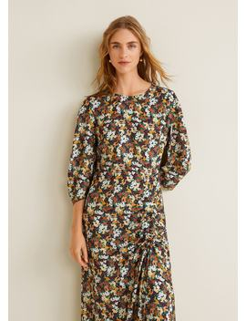 Ruched Detail Flower Dress by Mango