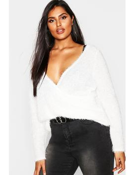 Plus Wrap Front Fluffy Knit Jumper by Boohoo