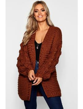 Plus Oversized Hand Knitted Chunky Cardigan by Boohoo