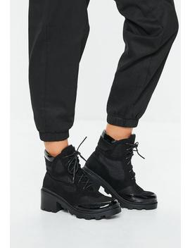 Black Contrast Panel Lace Up Boots by Missguided