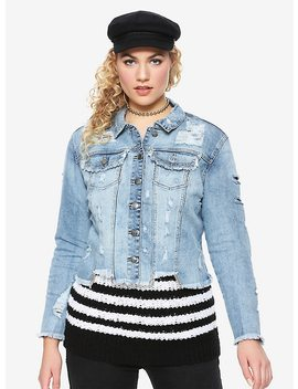 Light Indigo Destructed Crop Girls Denim Jacket Plus Size by Hot Topic