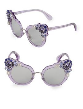 Crystal Embellished 52 Mm Cateye Sunglasses by Miu Miu
