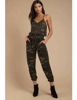 All Attention Olive Camo Jumpsuit by Tobi