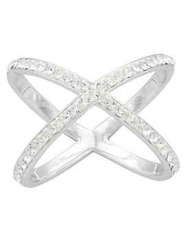 Women's Silver Plated Large X Crystal Ring (7) by Target