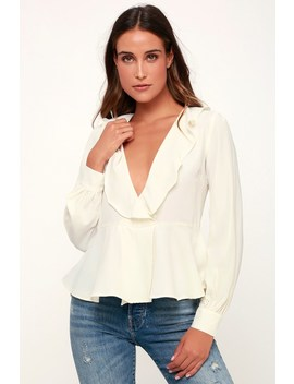 Everyday Romance White Ruffled Long Sleeve Peplum Top by Lulus