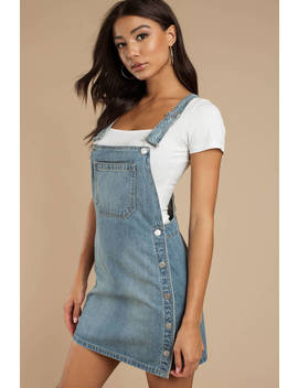 Free People Louise Medium Wash Denim Overall Dress by Tobi