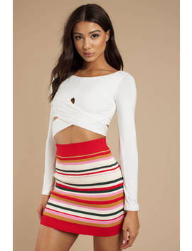 Honey Punch Love Affair Orange Multi Striped Skirt by Tobi