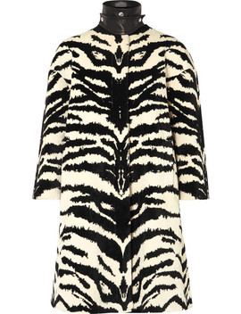 Leather Trimmed Zebra Jacquard Coat by Alexander Mc Queen
