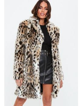 Nude Leopard Print Faux Fur Coat by Missguided