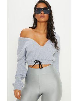 Grey Tie Waist Plunge Sweater by Prettylittlething