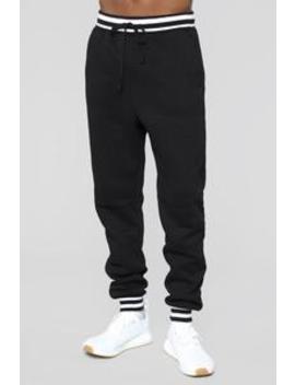 Striped Hem Jogger   Black by Fashion Nova