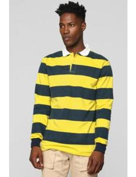 The Rugby Long Sleeve Polo   Yellow/Combo by Fashion Nova