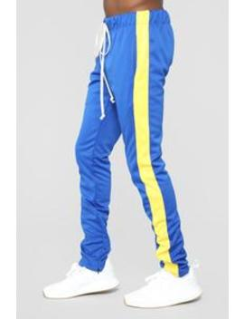 Retro Track Pant   Blue/Yellow by Fashion Nova