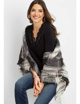 Lace Inset Long Sleeve Pullover by Maurices