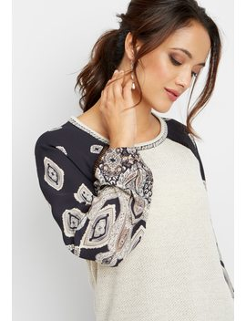 Embroidered Neck Chiffon Sleeve Top by Maurices
