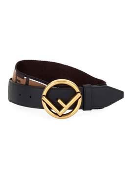 Men's Forever Fendi Belt With Brass Buckle by Fendi