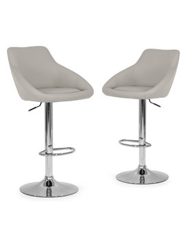 Set Of 2 Alani Ashy Grey Adjustable Height Swivel Barstool In Faux Leather by Generic