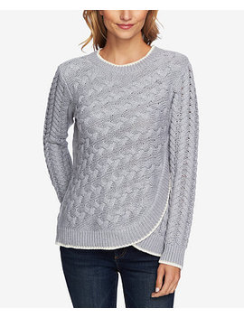 Cable Knit Faux Wrap Sweater by Ce Ce