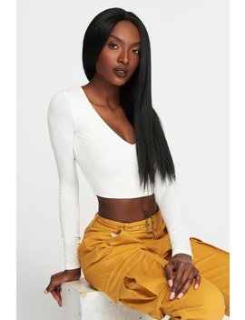V Neck Cropped Long Sleeve by Urban Planet