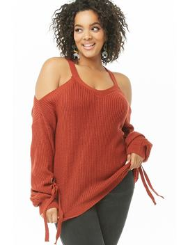 Plus Size Open Shoulder Knit Sweater by Forever 21
