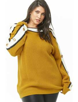 Plus Size Ribbed Striped Trim Sweater by Forever 21