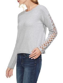 Lattice Sleeve Cotton Blend Sweater by Vince Camuto