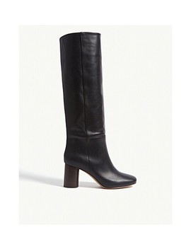 Soan Heeled Knee High Leather Boots by Sandro