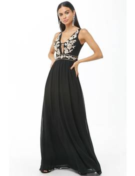 Soieblu Embroidered Chiffon Gown by Forever 21