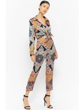 Satin Ornate Print Top & Pants Set by Forever 21