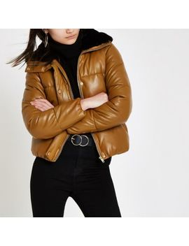 Brown Faux Fur Collar Puffer Jacket by River Island