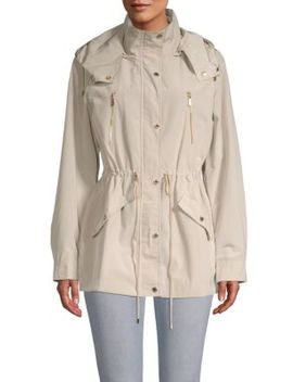 Hooded Drawstring Trench Jacket by Calvin Klein