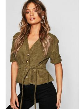 Button Down Belted Cord Shirt by Boohoo