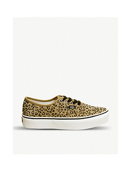 Authentic Platform Leopard Print Suede Sneakers by Vans