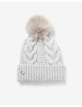 Metallic Cable Knit Pom Beanie by Express