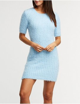Fuzzy Ribbed Sweater Dress by Charlotte Russe