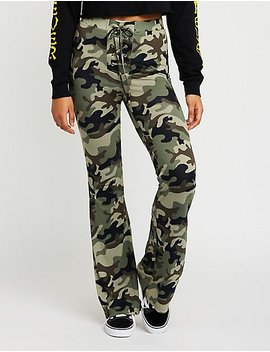 Camo Lace Up Flare Pants by Charlotte Russe