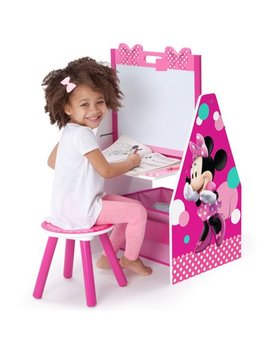 Disney Minnie Mouse Deluxe Kids Art Table | Easel, Desk, Stool & Toy Organizer By Delta Children by Disney