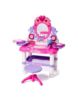 Princess Vanity Girl's Children's Pretend Play Dressing Table Battery Operated Toy Beauty Mirror Vanity Playset W/ Accessories by Dash Toyz