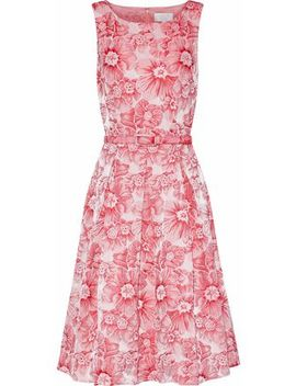 Pleated Floral Jacquard Dress by Mikael Aghal
