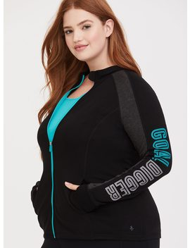 Black & Turquoise Goal Digger Active Jacket by Torrid