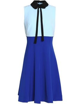 Pussy Bow Layered Color Block Crepe Dress by Mikael Aghal